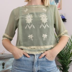Urban Outfitters Lace Embroidered Blouse